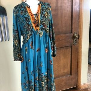 Free People NWT Turquoise Romantic Long Dress L